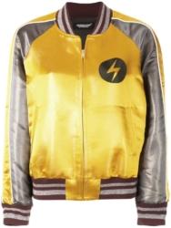 Yellow Bomber Jacket With Lightning Bolt