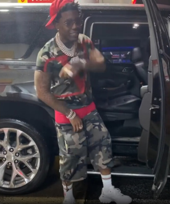 Yfn Lucci Dances Outside His Truck In Valentino Camo Tee And Shorts With White Sneakers