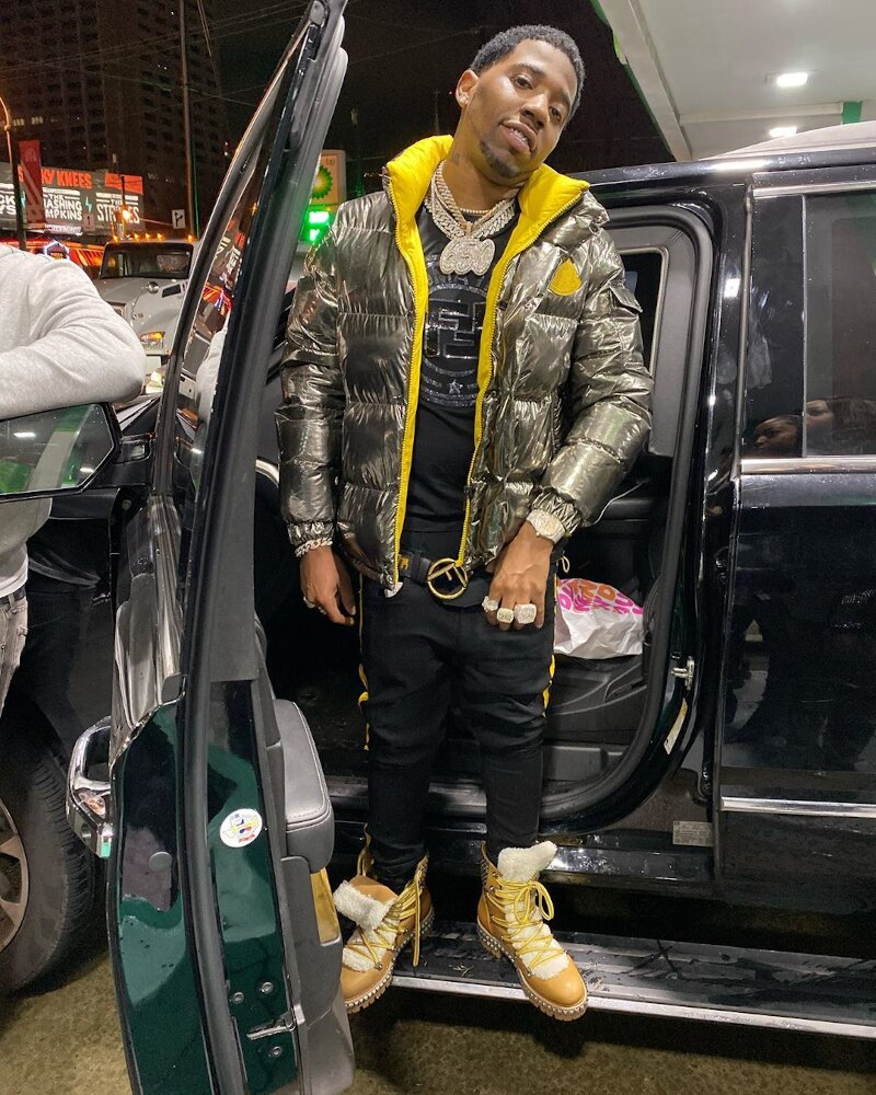 Yfn Lucci Hops Hout His Truck In Moncler Puffer Fendi Tee And Louboutin Boots