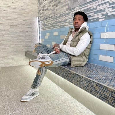 Yfn Lucci Wearing A Dior Oblique Puffer With Amiri Glitter Jeans And Dior B27 High Tops
