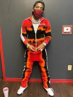 Yfn Lucci Wearing A Palm Angels Tie Tye Tracksuit And Jordan 5s