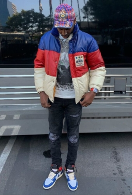 Young Dolph Poses In Front Of Tour Bus In Gucci Hat And Jacket With Lv T Shirt Amiri Jeans And Jordan 1s
