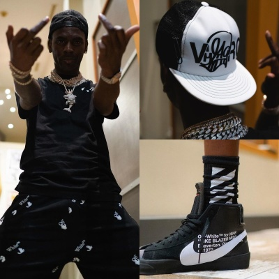 Young Dolph Wearing A Off White X Katsu Hat Off White Logo Tee And Shorts And Blazer Sneakers